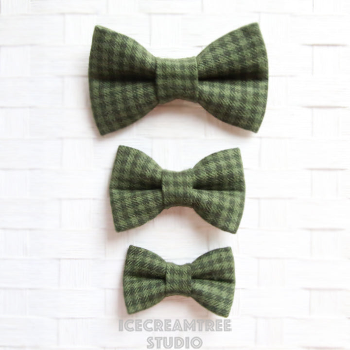 Flannel Dark Moss Green Houndstooth Bow - Collar Slide on Bow