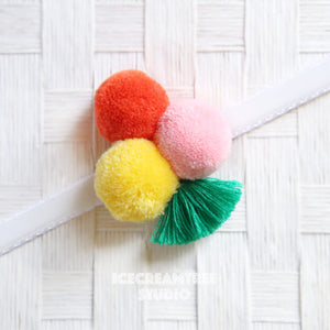 Big Hawaiian Pom Pom with Tassel - Pom Pom Collar Accessory
