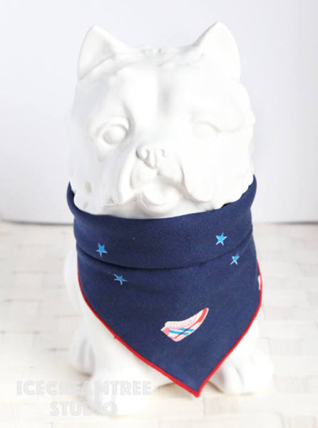 Navy Kicks Bandana - Tie on Classic Pet Bandana Scarf