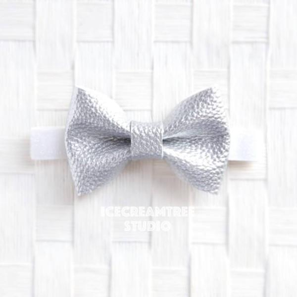 Faux Leather Metallic Silver Bow Tie - Pet Bow Tie
