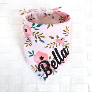 Pink Vintage Floral Bandana - Tie on Classic Pet Bandana Scarf