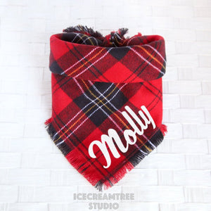 Classic Red Plaid Bandana - Tie on Classic Flannel Pet Bandana Scarf