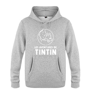 French Tintin Men's Pullover Fleece Hooded Sweatshirts