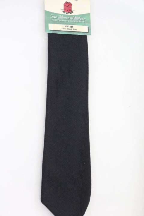 Mens House of Edgar Woollen Tie - Black - Anderson Kilts