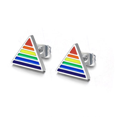 Triangle Rainbow Pride Stud Earrings