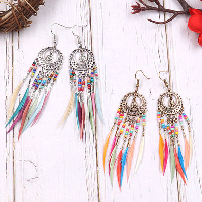 Two Spirit Rainbow Feathers Earrings