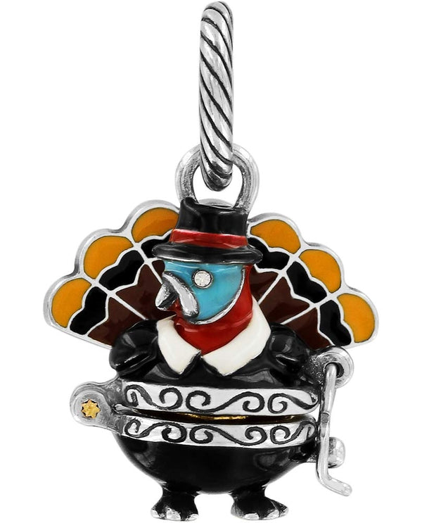 Brighton JC3463 Gobbler Turkey Charm Thanksgiving charm with turkey in a pilgrim outfit