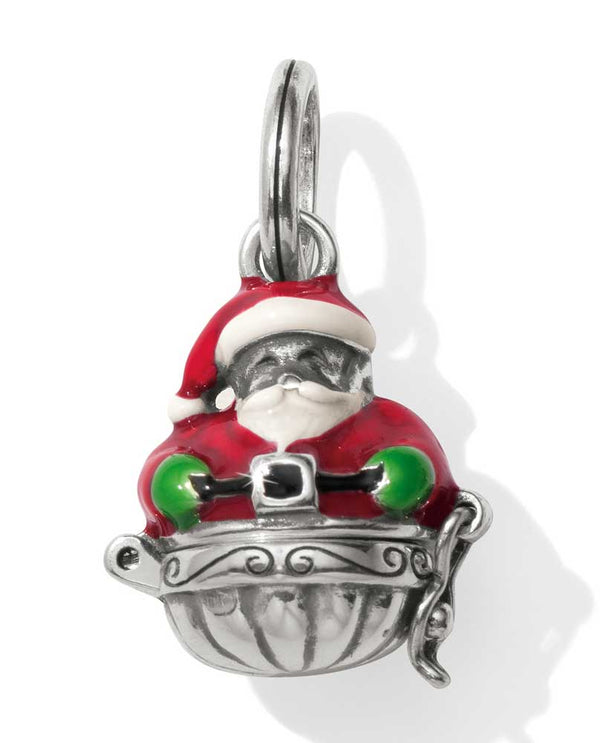 Brighton JC4573 Santa's Surprise Charm silver Santa charm with bottom opening to show presents