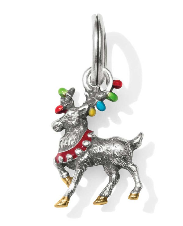 Brighton JC4593 Reindeer Bright Charm silver reindeer with Christmas lights around the antlers
