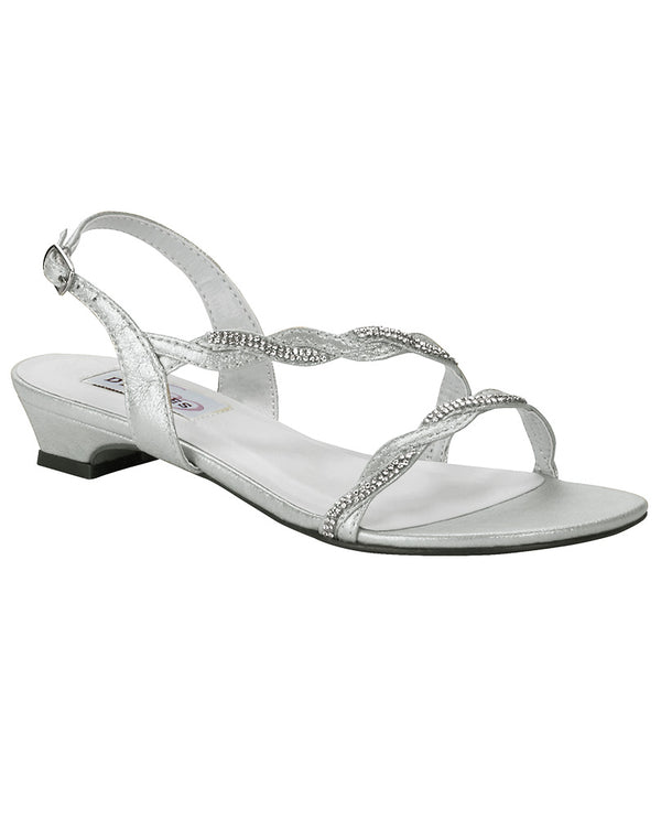 Dyeables Jasper Sandal silver flat sandals with metallic sparkle finish