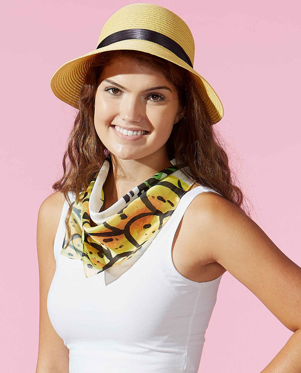 Tickled Pink 810676 Pineapple Lola Square Scarf lightweight square scarf with pineapple print