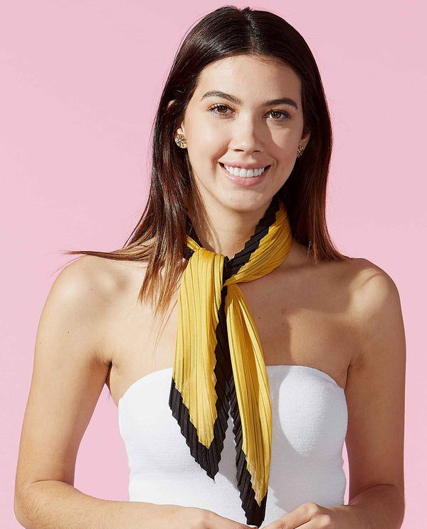 Gold Black Tickled Pink 810701 Crinkle Diamond Scarf lightweight Yellow Neck Scarf with Black Trim