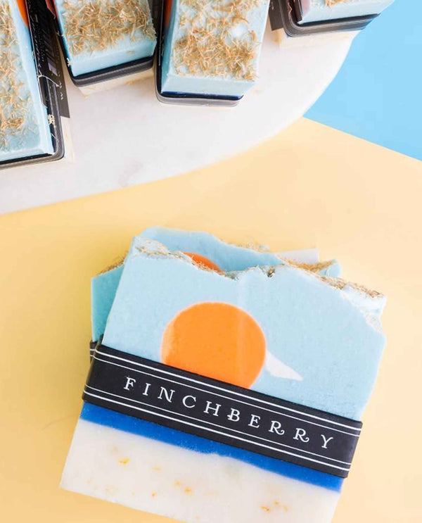 FinchBerry Tropical Sunshine Soap tropical scent handmade soap with a marbled sunset design