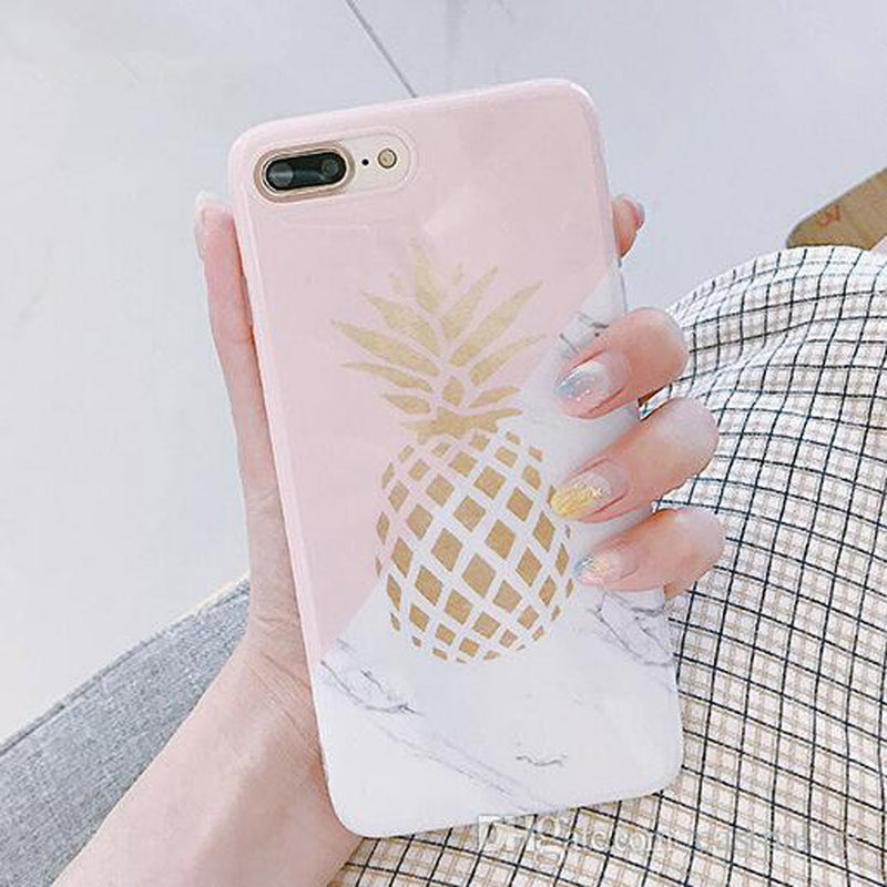 Cute Gold Pineapple White Marble Pink IPhone Cases for Teens Unique Aesthetic Protective Silicone Phone Case - caja del teléfono lindo - www.Jewolite.com