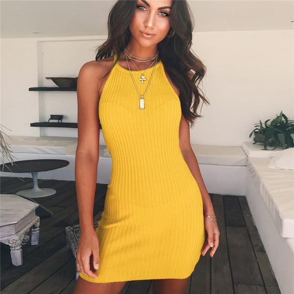 Women Sexy Night Club Black Yellow dress