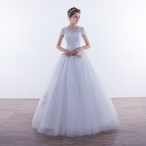 Bridal Short Sleeve A-line Tulle | Wedding Dress |