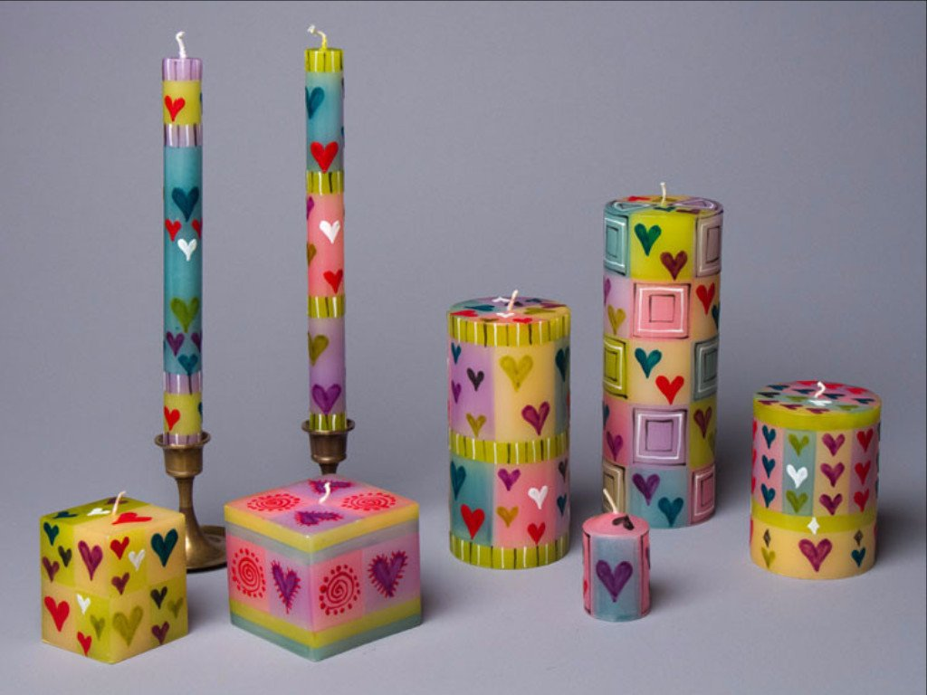 4 inch Pillar Candle - Pastel Heart - Small Things Fair Trade