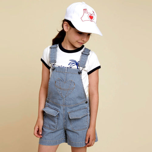 Striped Twilled Dungarees Blue