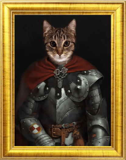 Cat In Cape and Armor Portrait 😻🦸