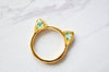 Real Pressed Flower and Resin Gold Cat Ring in Baby Blues - kdthreads