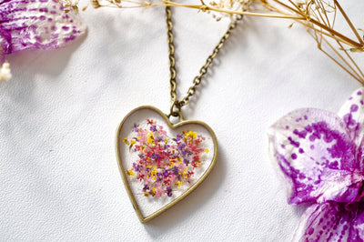 Real Pressed Flower and Resin Heart Necklace in Red, Pink, Yellow, and Purple Mix - kdthreads