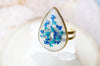 Real Pressed Flower and Resin Ring, Gold Teardrop in Teal and Blue - kdthreads