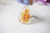 Real Pressed Flower and Resin Ring in Reds and Yellows Mix - kdthreads