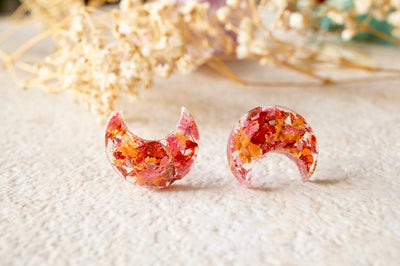 Real Pressed Flowers and Resin Celestial Moon Stud Earrings in Orange and Red - kdthreads