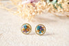 Real Pressed Flowers and Resin Circle Stud Earrings in Purple Orange Blue - kdthreads