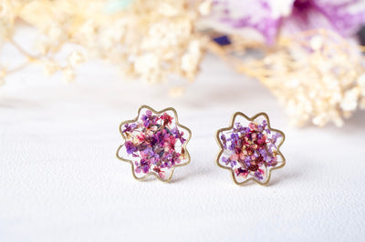 Real Pressed Flowers and Resin Flower Stud Earrings in Purples - kdthreads