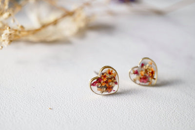 Real Pressed Flowers and Resin Heart Stud Earrings in Magenta Orange White Mix - kdthreads