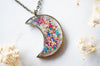 Real Pressed Flowers and Resin Moon Necklace in Party Mix - kdthreads