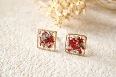 Real Pressed Flowers and Resin Square Stud Earrings in Red and Mint - kdthreads