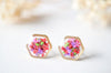 Real Pressed Flowers and Resin Stud Earrings, Gold Hexagon in Neon Mix - kdthreads