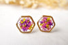 Real Pressed Flowers and Resin Stud Earrings, Gold Hexagon in Purple Pink Yellow - kdthreads