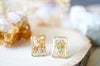 Real Pressed Flowers and Resin Stud Earrings, Gold Rectangle in Orange Yellow Pink Mint - kdthreads