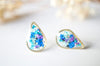Real Pressed Flowers and Resin Stud Earrings, Gold Teardrop in Mint Teal Purple Blue - kdthreads