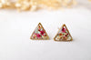 Real Pressed Flowers and Resin Triangle Stud Earrings in Baby Blue Magenta White - kdthreads