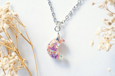 Real Pressed Flowers in Celestial Moon Resin Necklace - Purple Yellow Mint White with Rose Gold Flakes - kdthreads