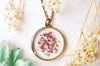 Real Pressed Flowers in Resin, Circle Necklace in Pink Purple Mint Gold Flakes - kdthreads
