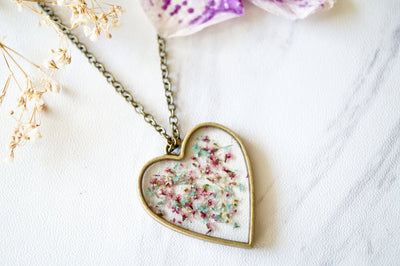 Real Pressed Flowers in Resin Heart Necklace in Mint Pink White - kdthreads
