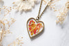 Real Pressed Flowers in Resin Heart Necklace in Red Yellow Mix - kdthreads