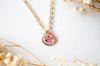 Real Pressed Flowers in Resin Necklace, Small Rose Gold Circle in Pinks and Purple - kdthreads