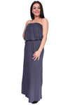 Women's smocked Tube Maxi Dress Long Full Length - kdthreads