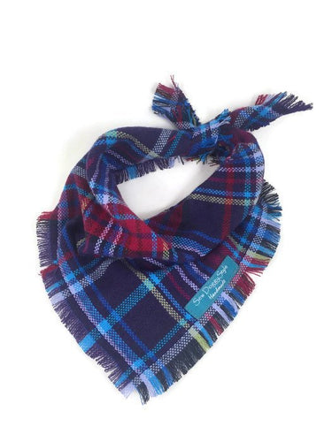 Plaid Dog Bandana with Fringe, Purple and Berry Plaid