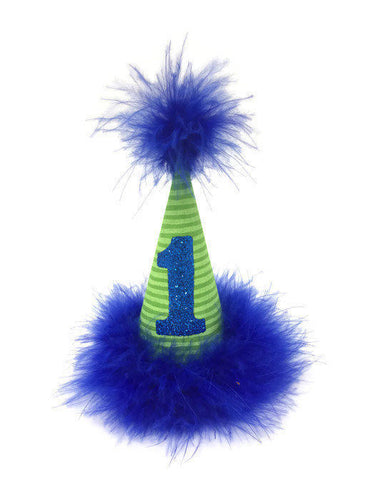 Dog Party Hat, Dog Birthday Hat, Lime and Blue, Green Birthday Hat