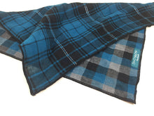 Load image into Gallery viewer, Dog Bandana, Dark Teal Plaid Bandana, Gray and black Bandana, Plaid Bandana