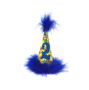 Birthday Hat, Party Hat, Stars, Blue and Yellow, Dog Birthday Hat