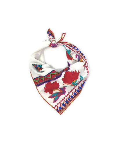 Floral Aztec Bandana, Red and White, Dog Bandana, Large flowers