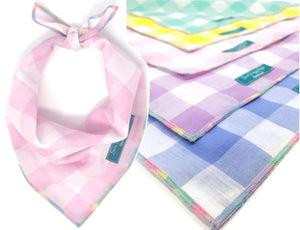 Hard Candy Bandana, Dog Bandana, Gingham, Checked Plaid, Rainbow Bandana, Pastel Rainbow, Candy Necklace Edge